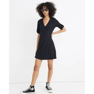 Madewell Cross Front Button Dress Large Black